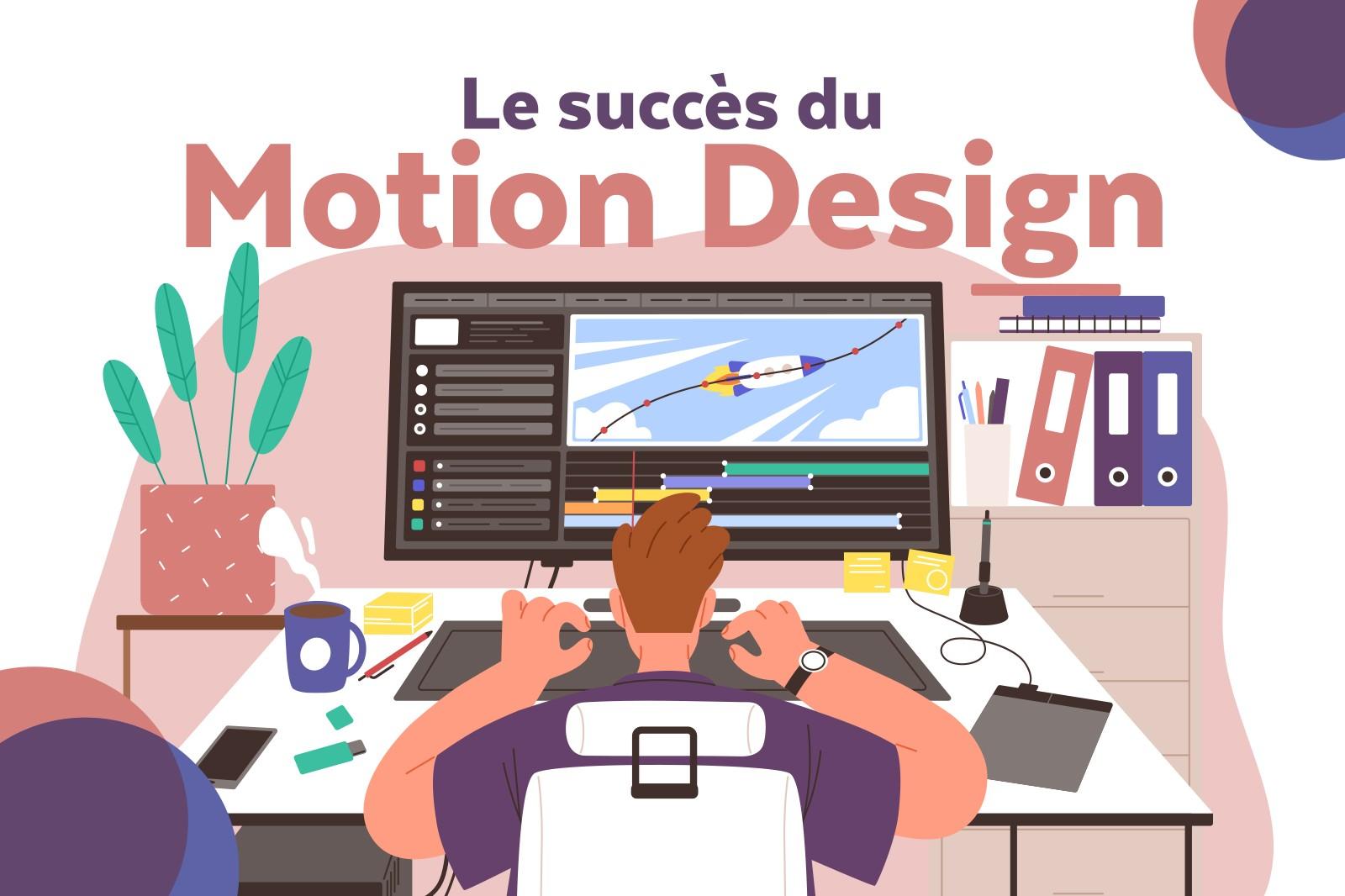 Représentation d'un freelance web qui travaille sur son bureau en explorant le succès du Motion Designer.