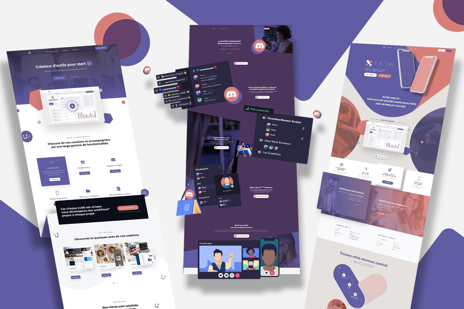 Représentation des blogs landing page tendances avec la couleur de l'Arche, notre communauté de freelance auto-entrepreneur.